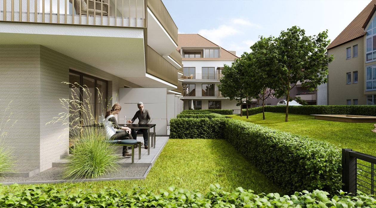 Gartenansicht mit Terrasse Stadt-Palais