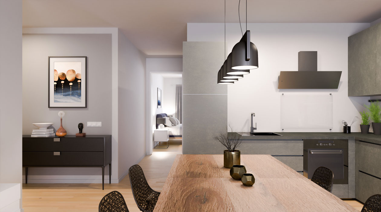 Innenansicht Küche und Flur Stadt-Palais