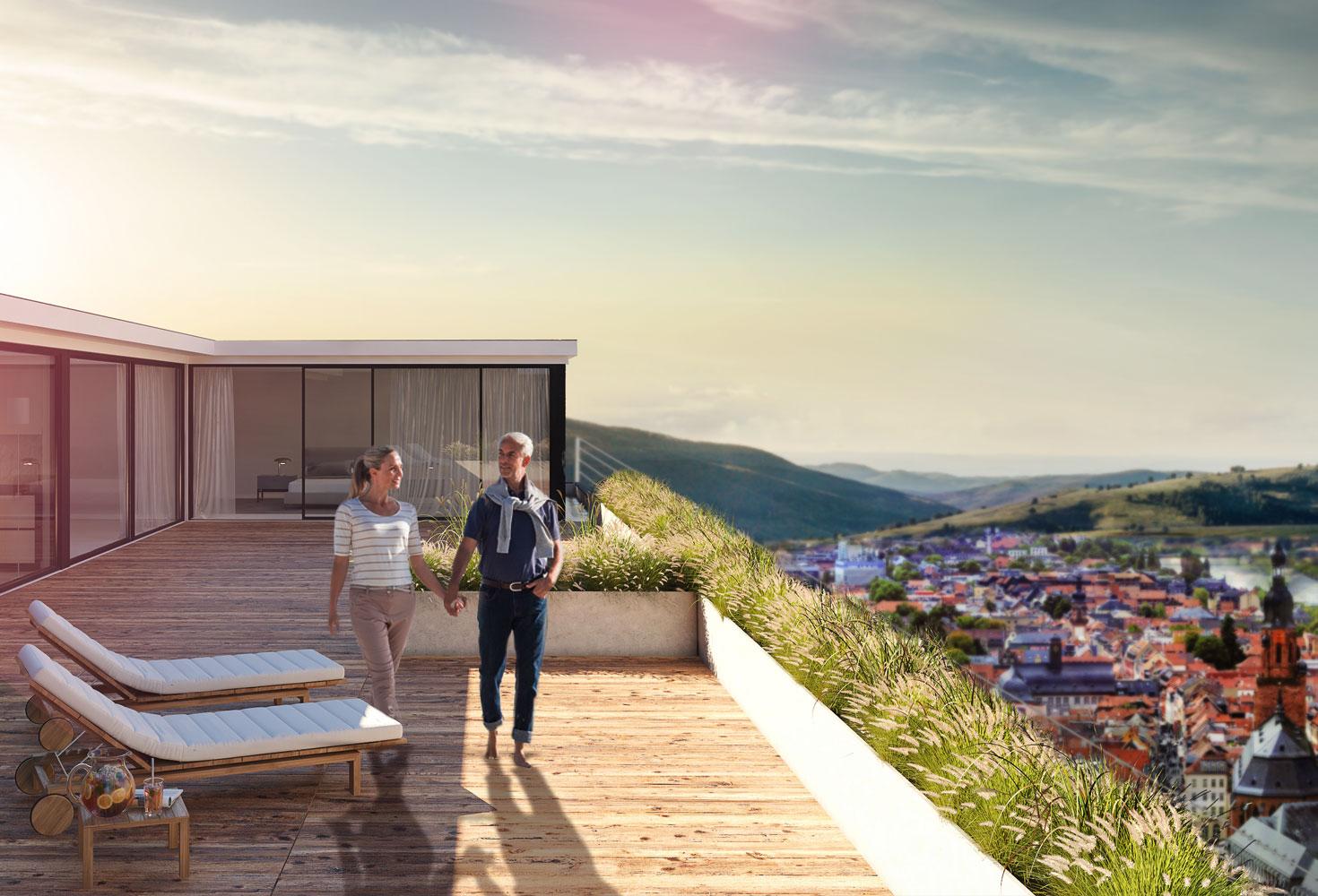 Wohnung mit Dachterrasse von BAUWERKE – Liebe & Partner